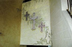 Trompe L'oeil Crucifix with Faux Stone Background