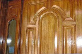 Faux-painted Wood Grain on Metal Entry Door