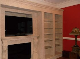 Faux Wall Shelving, Mantle, and Fireplace Mural