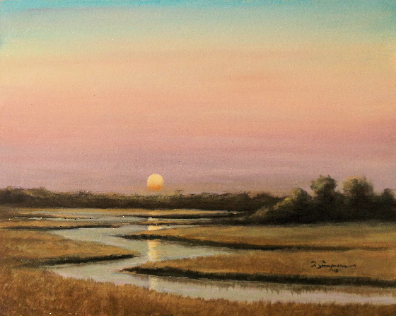 Sunset over Marsh acrylic painting